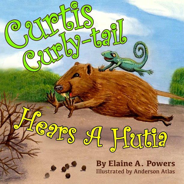 colorful children's book cover with a curly-tail lizard riding on a hutia's back