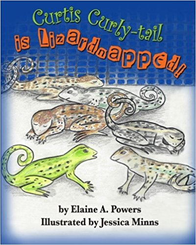 a blue and white children's book cover with curly-tail lizards illustrated