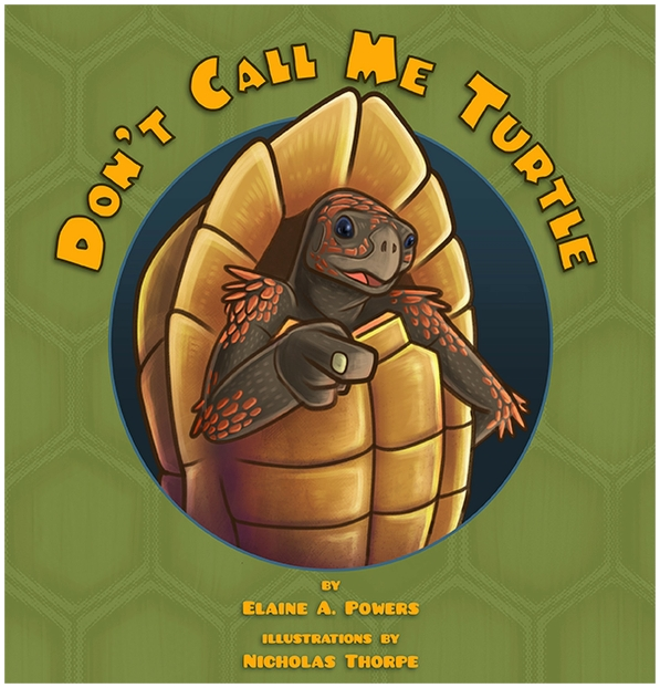 a green book cover with an illustration of a tortoise standing on hind legs, pointing at the viewer