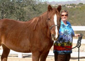 photo of author Elaine Powers with Button, a missiouri fox-trotter