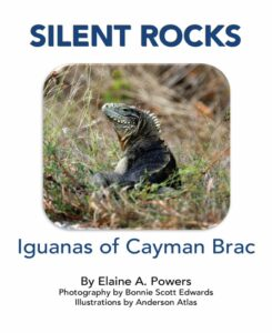 book cover with photo of iguana from Cayman Brac
