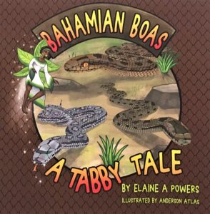 A brown book cover with illustrations of bahamian boa snakes