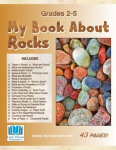 "book cover for workbook ""My Book About Rocks"""