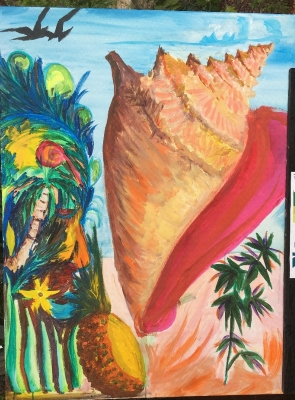 painting of a sea shell and island plants