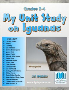 Graphic image book cover about iguanas