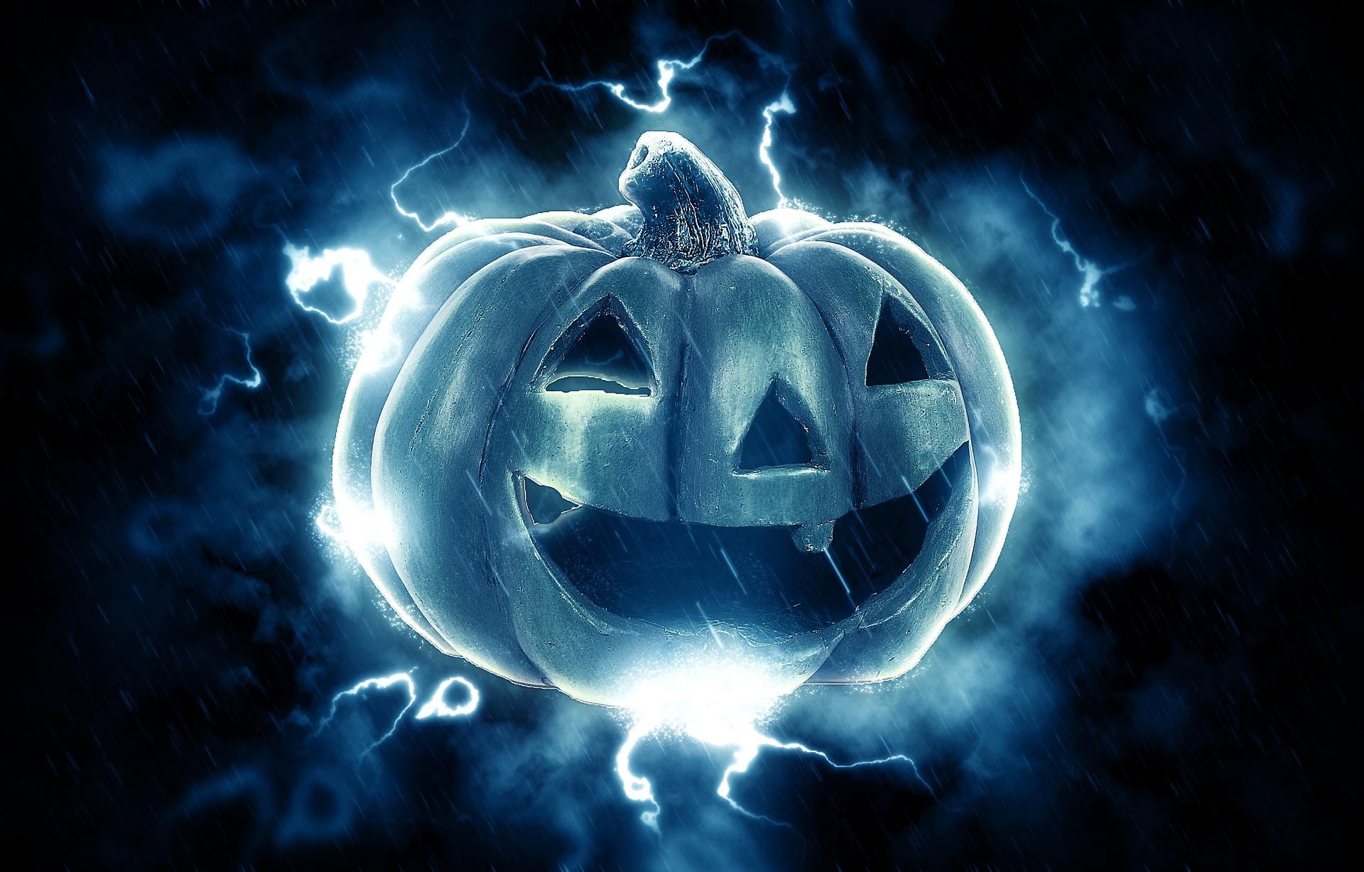 lightning striking blue pumpkin