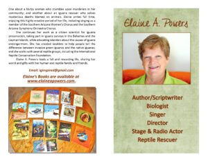 graphic of photo of and books by author Elaine A. Powers