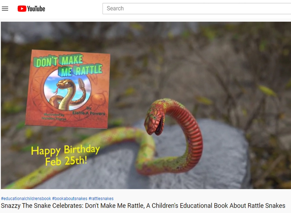 You Tujbe video screenshot from Snazzy the Snake Book Birthday