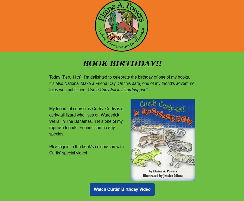 We're Celebrating a Curtis Curly-tail Book-Birthday in My New Newsletter!