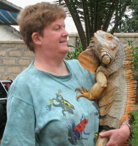 elaine a powers with Eddie the iguana