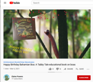 screenshot from YouTube video Bahamian Boa Book